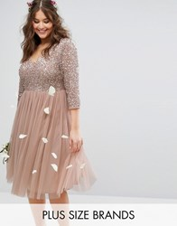 Lovedrobe Luxe 3 4 Sleeve V Neck Midi Dress With Delicate Sequin And Tulle Skirt Mink Pink