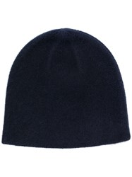 N.Peal Knitted Beanie Hat Blue
