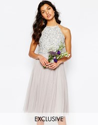 Maya High Neck Midi Tulle Dress With Tonal Delicate Sequins Grey