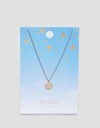 Orelia Pisces Constellation Disc Pendant Gold