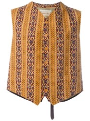 Romeo Gigli Vintage Patterned Waistcoat Yellow And Orange