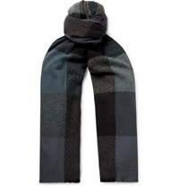 Begg And Co Brodick Busby Checked Cashmere Scarf Navy