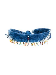 Dannijo Beaded Scarf Choker Necklace Cotton Blue