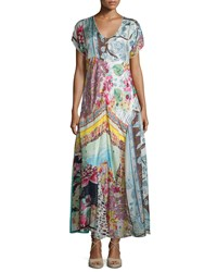 Johnny Was Printed Georgette Maxi Dress Plus Size Multi Colors
