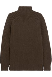 Victoria Beckham Ribbed Wool Turtleneck Sweater Green