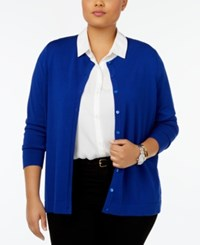 August Silk Plus Size Blend Cardigan Electric Royal