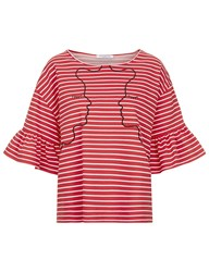 Vivetta Red Striped Flounce Sleeve Face T Shirt White