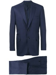 Brioni Two Piece Formal Suit Cupro Wool Blue