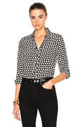 Saint Laurent Polka Dot Crepe De Chine Blouse In Black White Geometric Print Black White Geometric Print