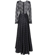 Ganni Kendal Lace Silk Dress Black