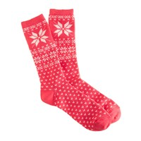 J.Crew Snowflake Fair Isle Trouser Socks Red Ivory