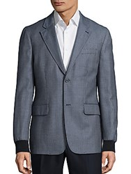 Melindagloss Check Printed Wool Blend Jacket Grey Blue