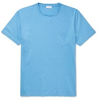 Sunspel Slub Cotton Jersey T Shirt Light Blue