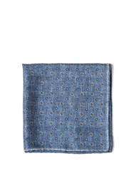 Brunello Cucinelli Multi Dot Print Silk Pocket Square Blue Multi
