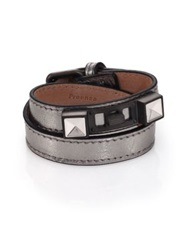 Proenza Schouler Ps11 Metallic Leather Double Wrap Bracelet Silver