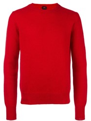 Massimo Piombo Mp Shetland Wool Classic Sweater Red