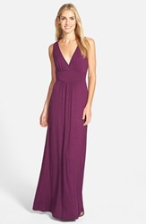 Women's Loveappella V Neck Jersey Maxi Dress Purple Dark