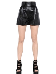Atelier Vlisco Faux Leather Shorts With Hand Patches Black