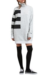 Volcom Cold Stripe Turtleneck Sweater Dress Heather Grey