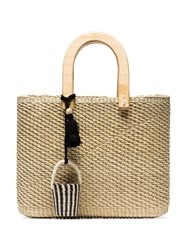 Sensi Studio Woven Straw Tote Bag Neutrals