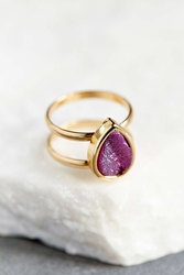 Urban Outfitters Teardrop Druzy Ring Gold