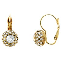 Monet Pave Glass Crystal Leverback Drop Earrings Gold