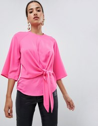 Ax Paris Pink Tie Waist Top