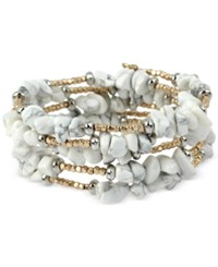 Kenneth Cole New York Two Tone White Stone Chip Coil Bracelet Gold