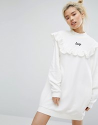 Lazy Oaf Mono High Neck Frill Sweat Dress With Front Slogan White