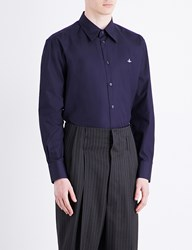 Vivienne Westwood Cutaway Collar Classic Fit Cotton Shirt Navy