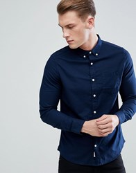 Burton Menswear Long Sleeve Oxford Shirt In Navy Navy