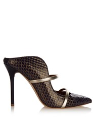 Malone Souliers Maureen Snakeskin Mules Navy Gold