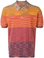 Missoni Knitted Striped Polo Shirt Orange
