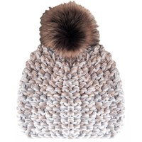 Yakshi Malhotra Light Marl Faux Fur Pom Pom Beanie White Grey Neutrals