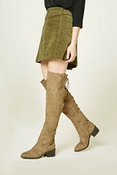Forever 21 Lace Up Over The Knee Boots