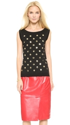 Moschino Button Polka Dot Shell Top Black