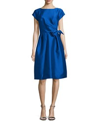 Rickie Freeman For Teri Jon Cap Sleeve Bow Waist Cocktail Dress Royal