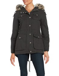 Bcbgeneration Faux Fur Trimmed And Lined Zip Front Coat Charcoal