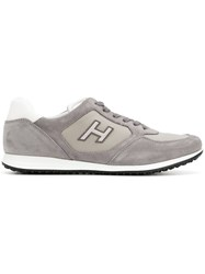 Hogan Lace Up Sneakers Leather Suede Nylon Rubber Grey