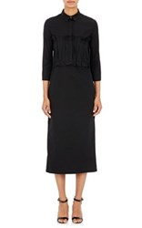 Nina Ricci Women's Pleated Ruffle Midi Shirtdress Black Size 42 Fr