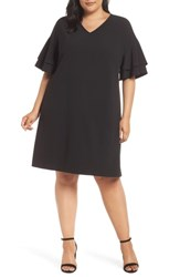 Eci Plus Size Ruffle Sleeve Shift Dress Black