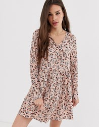 Daisy Street Long Sleeve Smock Dress With Button Front In Ditsy Floral Multi