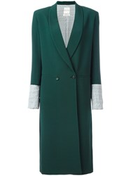 Each X Other Contrast Cuffs Double Breasted Coat Green