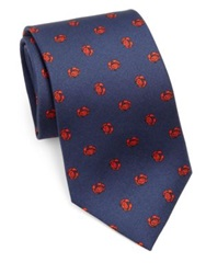 Vilebrequin Crab Print Silk Tie Navy Red