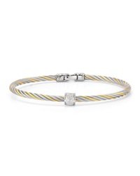 Alor Two Tone Stainless Steel And Diamond Cable Bracelet 0.05Tcw