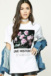 Forever 21 Une Histoire Damour Graphic Tee White Black