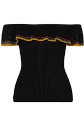 Red Valentino Redvalentino Maglia Off The Shoulder Pointelle Knit And Ribbed Cotton Top Black