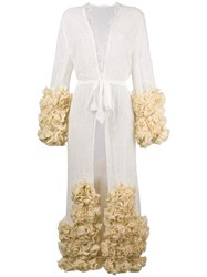 Yes Master Ruffle Hem Embroidered Night Gown White