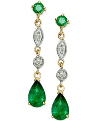Macy's Emerald 1 Ct. T.W. Dangle Drop Earrings In 14K Gold Green