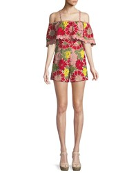 Alice Olivia Anelle Off The Shoulder Lace Ruffle Romper Multi